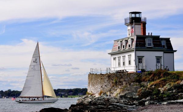 12 meter Gleam sails past Rose Island Lighthouse Newport RI