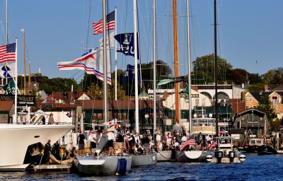 12 meter yachts at Bannisters Wharf Newport RI