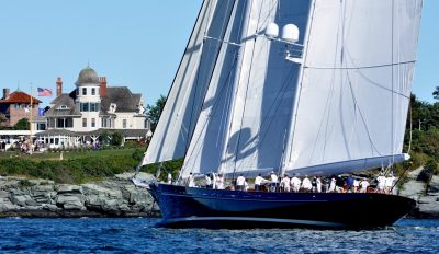 Super yachts sailing in Narraganset Bay off Castle Hill Newport RI